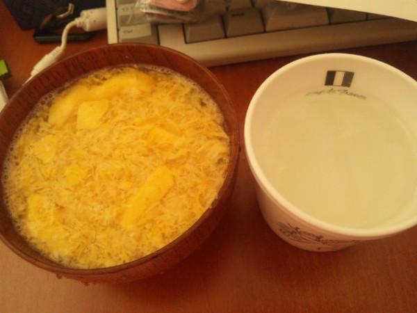流動食 重湯と卵の味噌汁