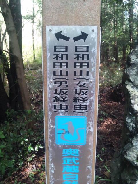 日和田山 男坂と女坂の分岐点