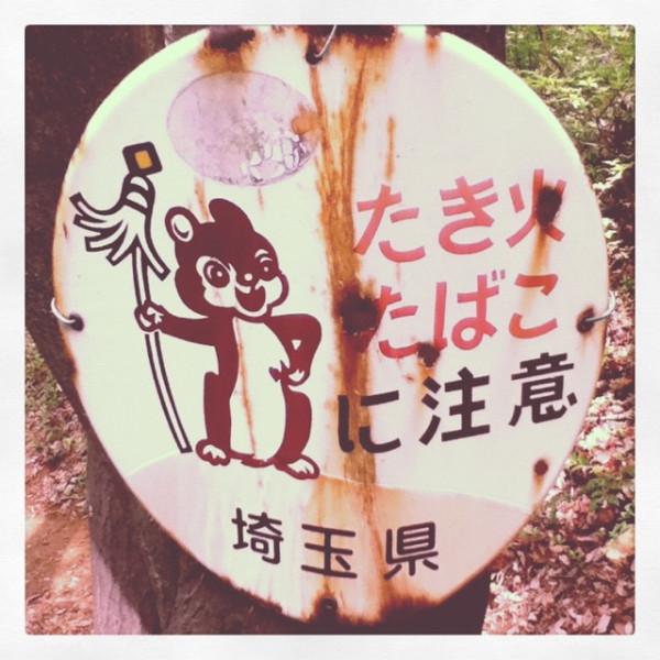 日和田山で見つけたレトロな看板